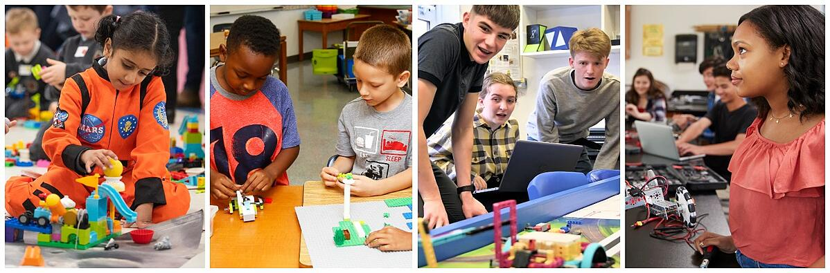 Kids engaged in hands-on learning with robotics