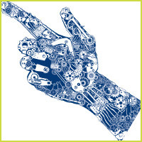 Scholarship pointing hand graphic